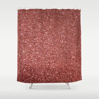 gold glitter Shower Curtains featuring ROSE GOLD GLITTER by I Love Decor