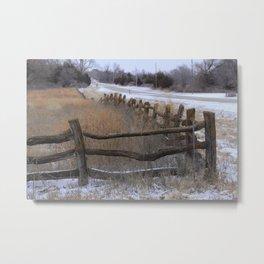 Kansas Wintery Wooden Fence Metal Print