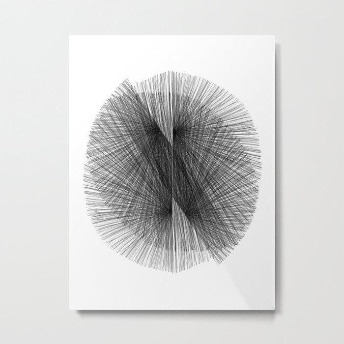Black & White Mid Century Modern Radiating Lines Geometric Abstract Metal Print