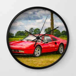 Red Sports Car 1987 Wall Clock