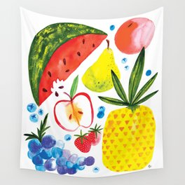 Fruit Watercolor - Pineapple, Watermelon, Strawberry Wall Tapestry