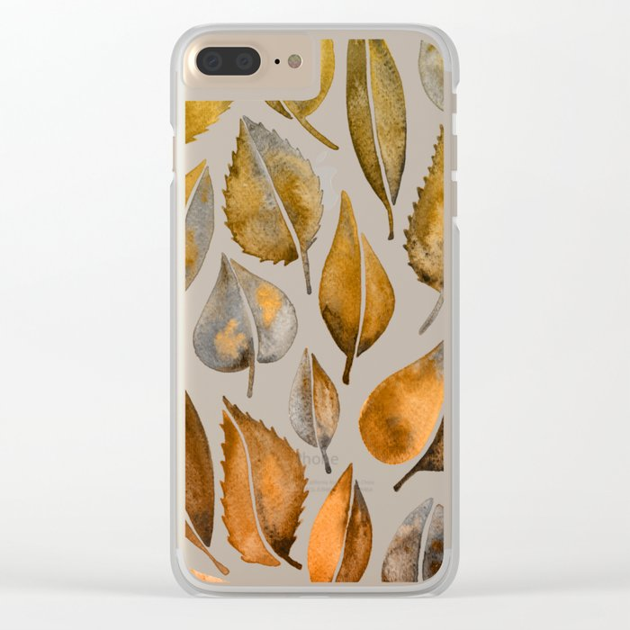 Rusty Leaves Clear iPhone Case