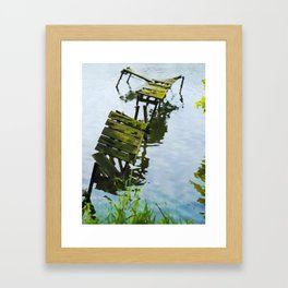 We Used To Fish Here | Lake Jetty Dock Pier - Watercolor Painting Framed Art Print