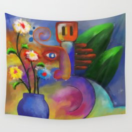 Musician and Flowers Wall Tapestry