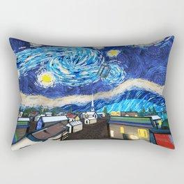 Tardis Art Starry City Night Rectangular Pillow