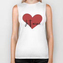 Je t'aime - Love Heart Valentines Day quote Biker Tank