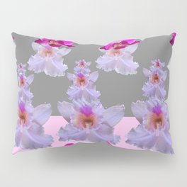 PURPLE  FUCHSIA ORCHIDS  SPRINKLES ON  GREY-PINK ART Pillow Sham