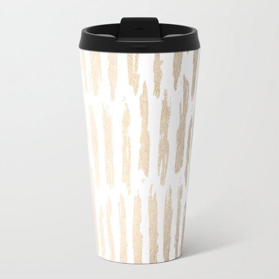 White Gold Sands Vertical Dash Metal Travel Mug