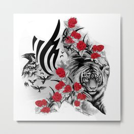 Tiger and Roses Metal Print