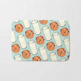Milk & Cookies Pattern - Blue Bath Mat