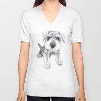 schnauzer V-neck T-shirts featuring Schnozz the Schnauzer by Beth Thompson