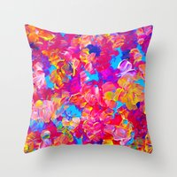 jazzberry Throw Pillows featuring FLORAL FANTASY Bold Abstract Flowers Acrylic Textural Painting Neon Pink Turquoise Feminine Art by EbiEmporium