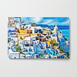 Mykonos View Digital Oil Painting Metal Print