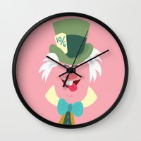 mad hatter Wall Clocks featuring Mad hatter by Maria Jose Da Luz