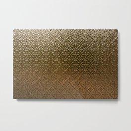 Metal golden texture embossed gold floral pattern Metal Print