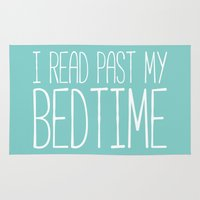 bookworm Area & Throw Rugs featuring I read past my bedtime. by bookwormboutique