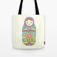russian Tote Bags featuring Russian Doll by haleyivers