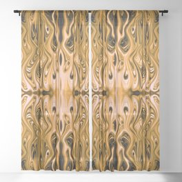 Antique Gold Squid by Chris Sparks Sheer Curtain