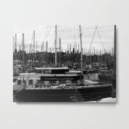 black and white sailing  Metal Print