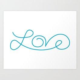 Love calligraphy print - Aqua blue Art Print