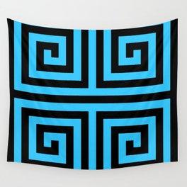 Graphic Geometric Pattern Minimal 2 Tone Zig-Zag Swirl (Blue Teal & Black) Wall Tapestry