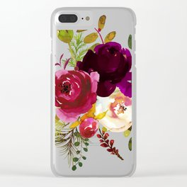 Watercolor red roses Clear iPhone Case