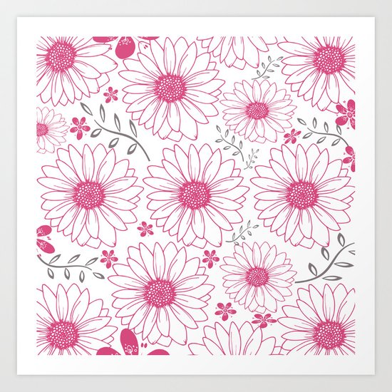 Cerise and Gray Floral Pattern Art Print