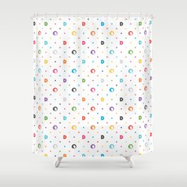 Dustin Drake Colored Logo Pattern White Shower Curtain