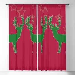 Reindeer green with Stars red background - Christmas Design Blackout Curtain