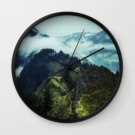 Forest Mountains Blue Sky Wall Clock