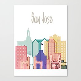 San Jose colorful skyline design Canvas Print