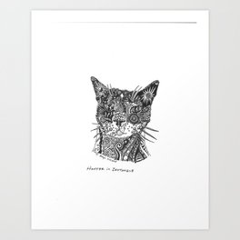 Hunter the Kitty in RobynTangle Art Print