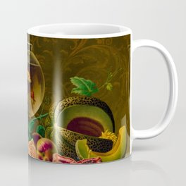 Goldfish in a bowl on a table with fruit and flowers Coffee Mug