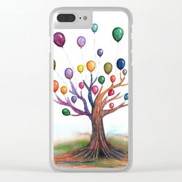 Balloon Tree Watercolor Clear iPhone Case