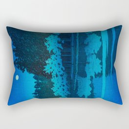 Vintage Japanese Woodblock Print Blue Forest At Night White Moonlight Mystical Trees Rectangular Pillow