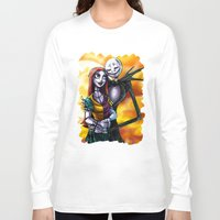jack skellington Long Sleeve T-shirts featuring Jack Skellington With Sally Figurine by Andrian Kembara
