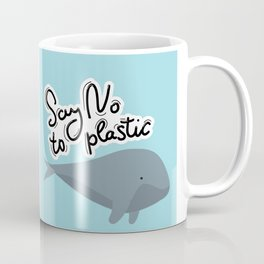 Say no to plastic. Whale, sea, ocean.  Pollution problem concept Eco, ecology banner poster. Coffee Mug