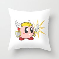 kirby Throw Pillows featuring Valkyrie Kirby by Mel W.