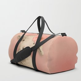 Flower Sheep Girl Portrait, Dusty Flamingo Pink Background Duffle Bag