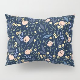 Ditsy Floral Blue and Pink Pattern Pillow Sham