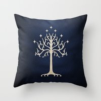 gondor Throw Pillows featuring For Gondor by enthousiasme