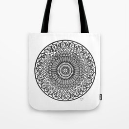 Black and White Ink Mandala Art, Boho Style Peacock Mandala Design Tote Bag