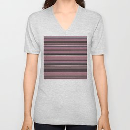 Pink and Brown Striped Pattern Unisex V-Neck
