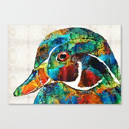 Colorful Wood Duck Art by Sharon Cummings Canvas Print