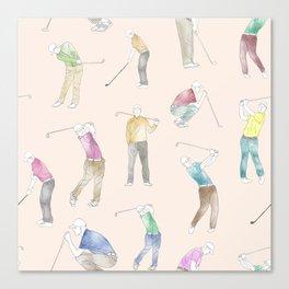 Watercolor Golfers // Antique White Canvas Print