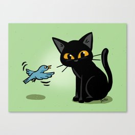 Talking with a bird Canvas Print