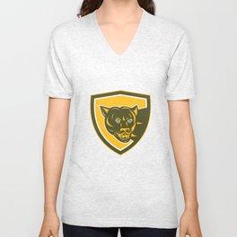 Puma Mountain Lion Head Prowl Shield Retro Unisex V-Neck