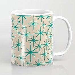 Stella 2 - Atomic Age Starbursts - Midcentury Modern Pattern in Turquoise Teal and Mod Mod Beige Coffee Mug