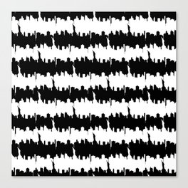Large Black and White Stripes NYC Skyline Canvas Print