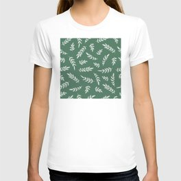 Forest Heather Green and Ivory Color Leaf Pattern T-shirt